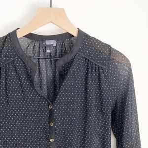 The Limited Sheer Black Polka Dot Blouse